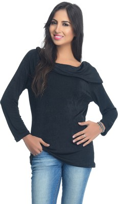 Rare Party Full Sleeve Solid Women's Black Top