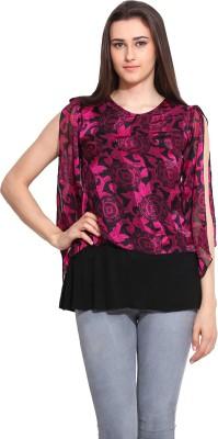 Mystree Casual Cape Sleeve Printed Women's Black, Pink Top
