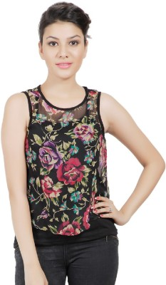 Sei Bello Casual Sleeveless Floral Print Women's Black Top