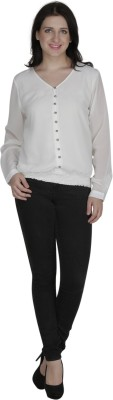 French Creations Casual Full Sleeve Solid Women's White Top