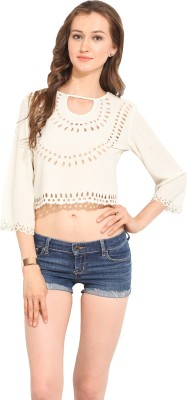 Albely Casual 3/4 Sleeve Solid Women's Beige Top
