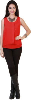 Belle Fille Casual Sleeveless Solid Women's Red Top at flipkart