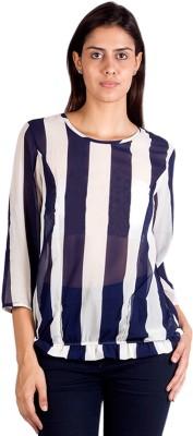 Ebry Casual 3/4 Sleeve Striped Women's Blue, White Top