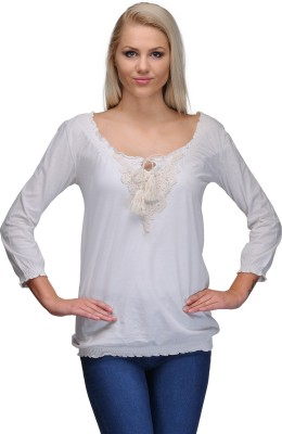 Curvy Q Casual 3/4 Sleeve Solid Women's White Top