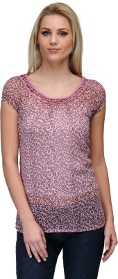 Curvy Q Casual Short Sleeve Animal Print Women's Pink Top