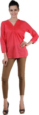 Pret a Porter Casual Full Sleeve Solid Women's Red Top