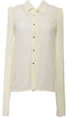 Desi Panache Casual, Party Full Sleeve Solid Women's White Top