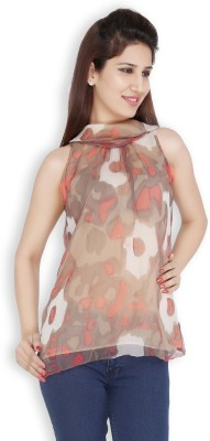 Free Spirited Casual Sleeveless Printed Women's Brown Top