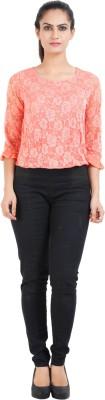 Prnas Casual Full Sleeve Floral Print Women's Pink Top