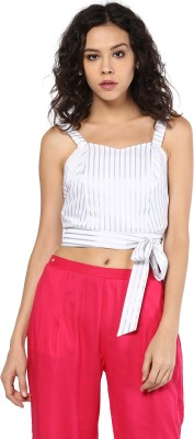 Roving Mode Casual Sleeveless Striped Women's White Top
