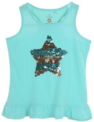 Joy N Fun Casual Sleeveless Printed Girl's Blue Top