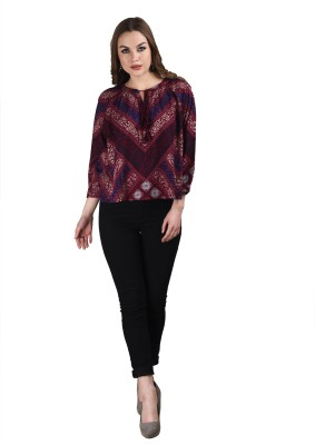 Splendent Casual 3/4 Sleeve Graphic Print Women's Red Top