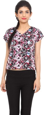 Label VR Casual Short Sleeve Printed Women's Pink Top