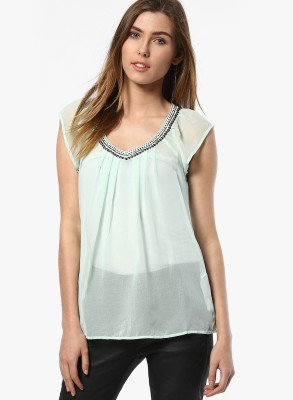 Only Casual Cape Sleeve Solid Women's Green Top