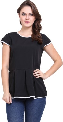 DeDe,S Casual Short Sleeve Solid Women's Black, White Top