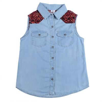 Coffee Bean Casual Sleeveless Self Design Girl's Blue Top