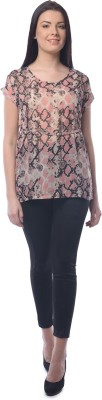 Chloe Casual Short Sleeve Printed Women,s Pink, Brown Top