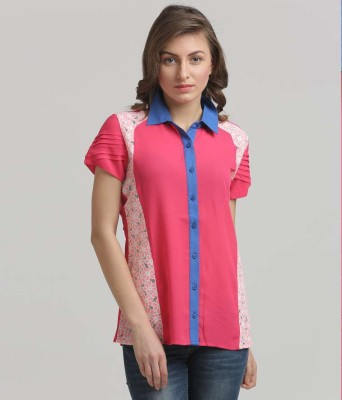 Moda Elementi Casual Short Sleeve Solid Women's Pink Top