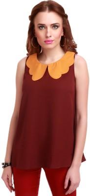 Sassafras Casual Sleeveless Solid Women's Maroon, Yellow Top at flipkart