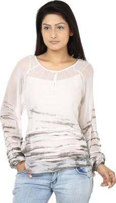 Oorja Casual Full Sleeve Printed Women's White, Grey Top