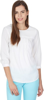 American Swan Casual 3/4 Sleeve Solid Women's White Top