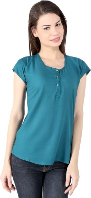 pinklady Casual Short Sleeve Solid Women's Blue Top