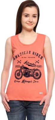 ADRO Casual Sleeveless Printed Women's Orange Top
