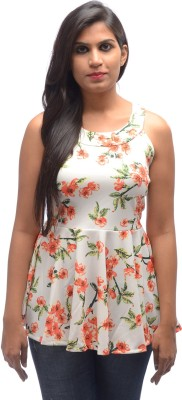 Shanu Collection Casual Sleeveless Floral Print Girl's White Top