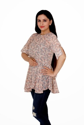 Damsel Casual 3/4 Sleeve Floral Print Women's Multicolor Top