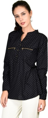 Curvy Q Casual Full Sleeve Polka Print Women's Black Top