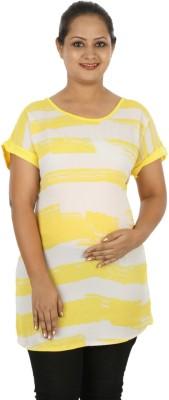 Mamma Mia Casual Short Sleeve Striped Women,s Yellow Top