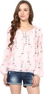 Rose Vanessa Casual Full Sleeve Printed Women's Pink Top