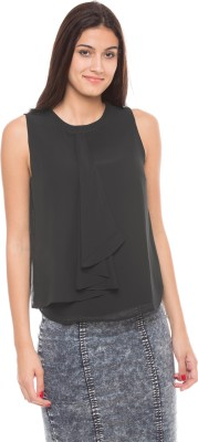 Shuffle Casual Sleeveless Solid Women's Black Top
