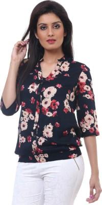 Lynda Casual 3/4 Sleeve Floral Print Women's Black Top