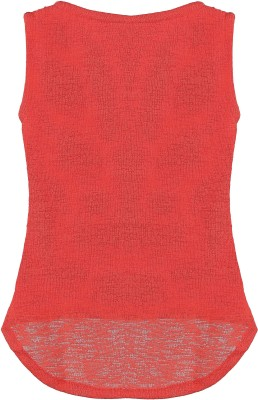 Kittybitty Party Sleeveless Self Design Baby Girl's Red Top