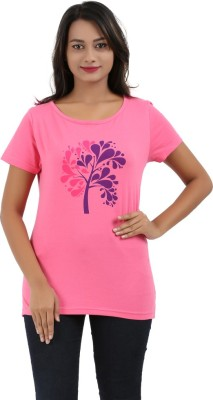 Nuva Casual Short Sleeve Printed Women's Pink Top