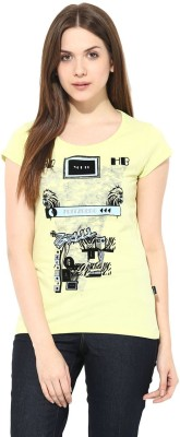 Fritzberg Casual Short Sleeve Graphic Print Women's Yellow Top