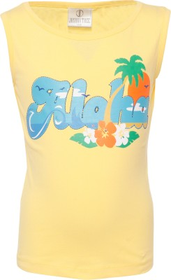 Joshua Tree Casual Sleeveless Printed Girl's Yellow Top