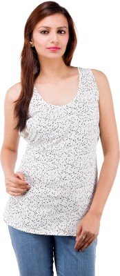 Centiaro Casual Sleeveless Printed Women's White Top
