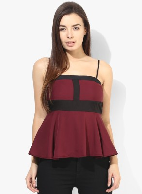 Popnetic Casual Sleeveless Solid Women's Maroon Top