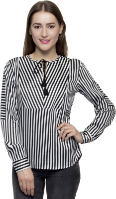 One Femme Formal, Party Full Sleeve Striped Women's Black Top
