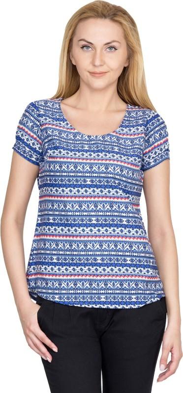 Shopaholic Casual Short Sleeve Printed Women's Blue, White Top