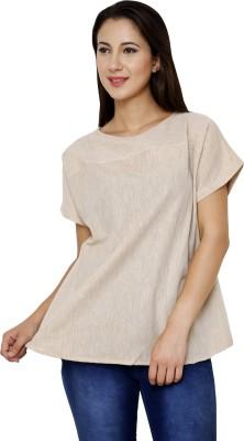 Dhrohar Casual Short Sleeve Solid Women,s Beige Top