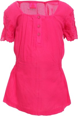 UFO Casual Short Sleeve Embroidered Girl's Pink Top