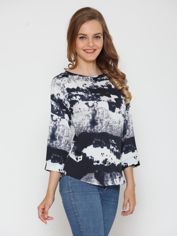 Stop Look Casual 3/4th Sleeve Printed Women's Multicolor Top