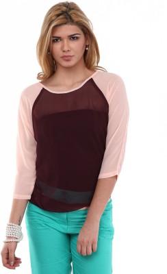 Kaxiaa Casual 3/4 Sleeve Solid Women's Maroon Top