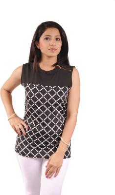 Natty India Casual Sleeveless Checkered Women's White, Black Top