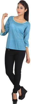 Jiyami Creations Casual 3/4 Sleeve Printed Girl's Blue Top