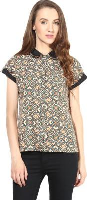 Citrine Casual Short Sleeve Geometric Print Women's Multicolor Top