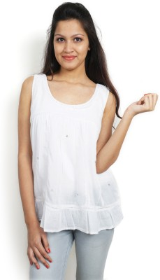 Bay & Blue Casual Sleeveless Solid Women's White Top